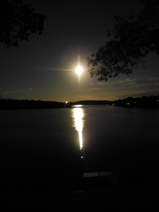 the full moons shines on the lake below