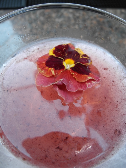 Amethyst martini with floating purple pansy