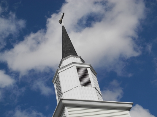 Church steeple reaches for the sky