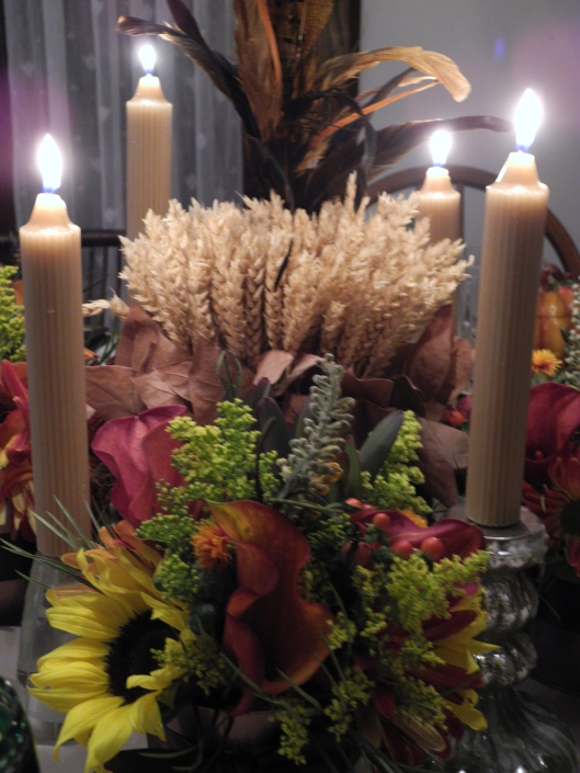 Autumn flowers and candles