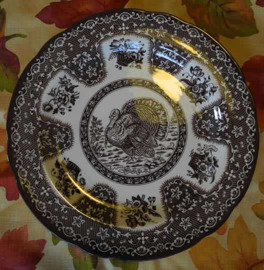 Brown Spode turkey plates