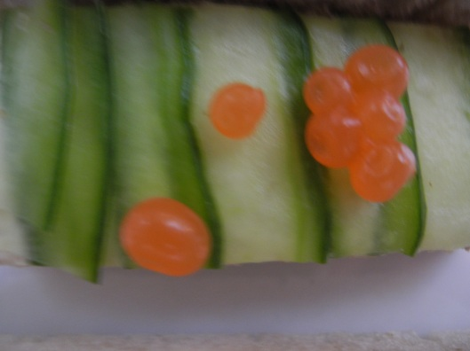 Cucumber sandwich with Salmon Roe