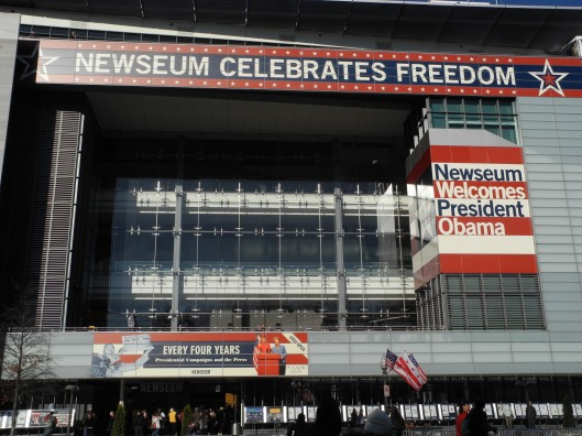 Newseum decorated for the Inauguartion