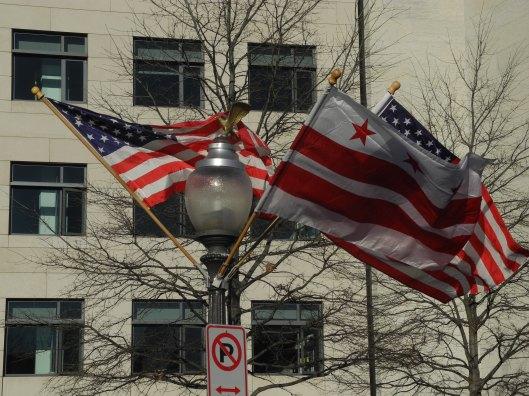 Patriotic flags in the breeze